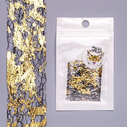 Фольга «Сетка поталь» Zoo №1584 чёрный/золото