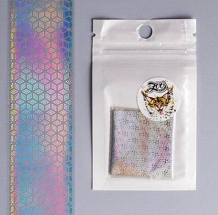 Фольга переводная хром голография кубики Zoo №1468