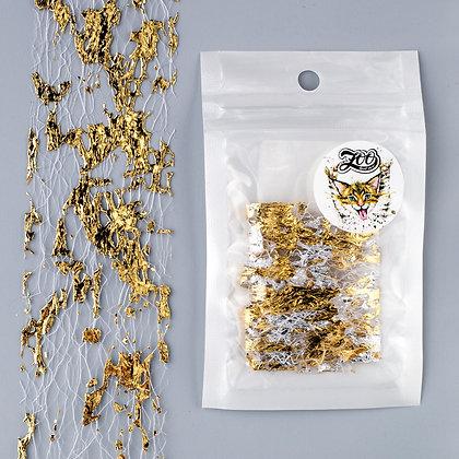Фольга «Сетка поталь» Zoo №1582 белый/золото