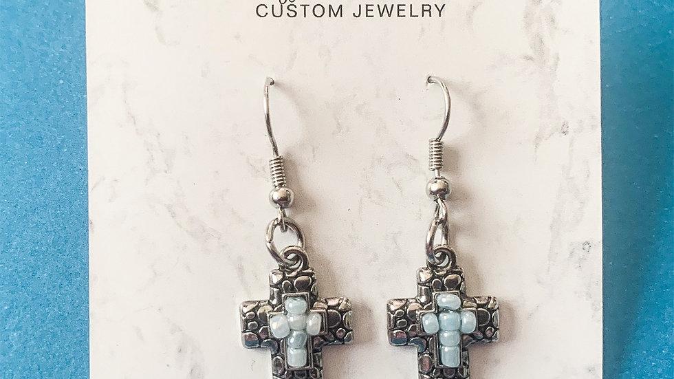 Textured cross earrings