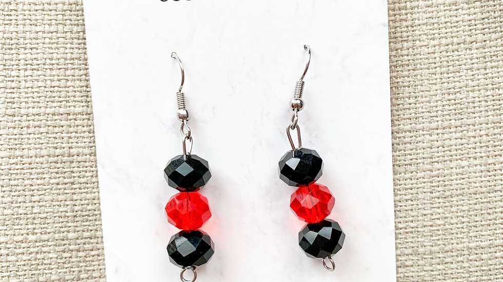 Black and red charm dangle earrings