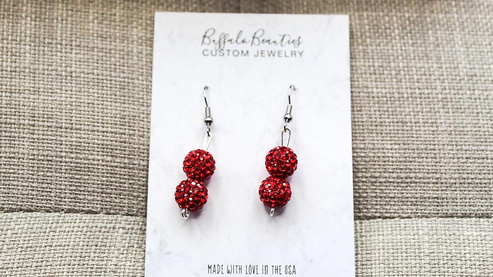 Red sparkle dangle earrings