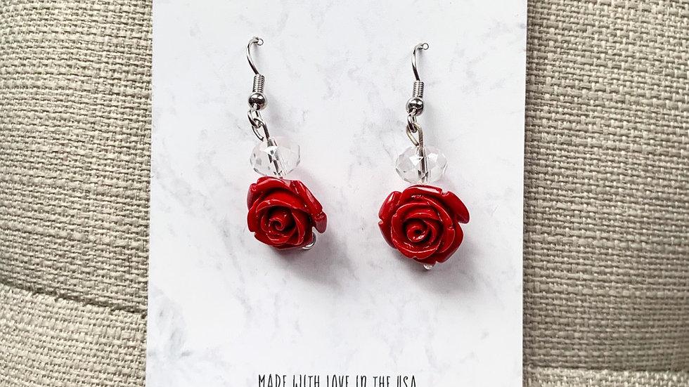 Rose charm dangle earrings