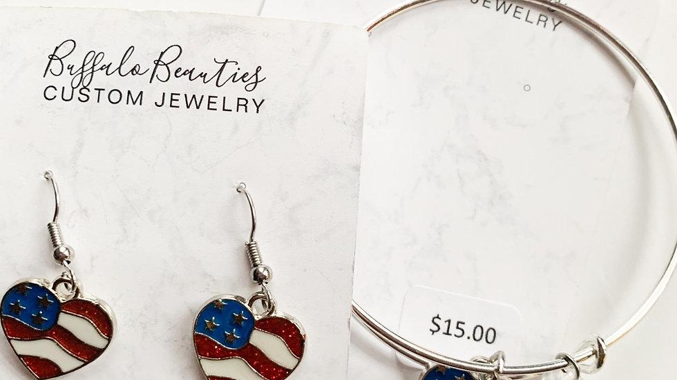 Flag Heart Earring and Bracelet Combo