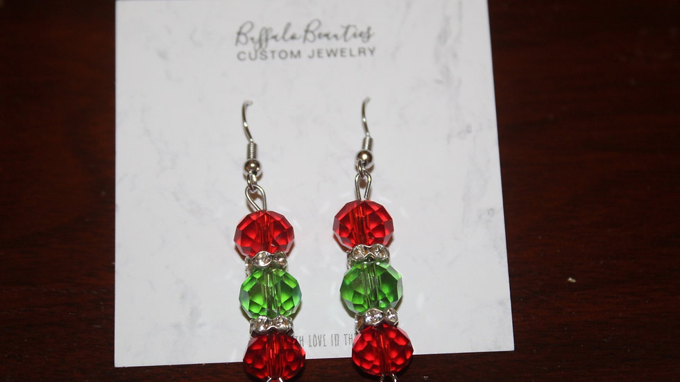 Red and Green crystal dangle earrings