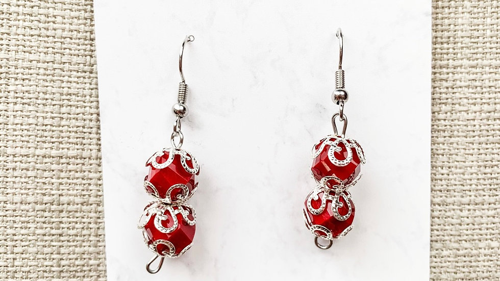 Silver red dangle earrings