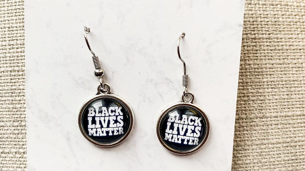 Black Lives Matter dangle earrings in black
