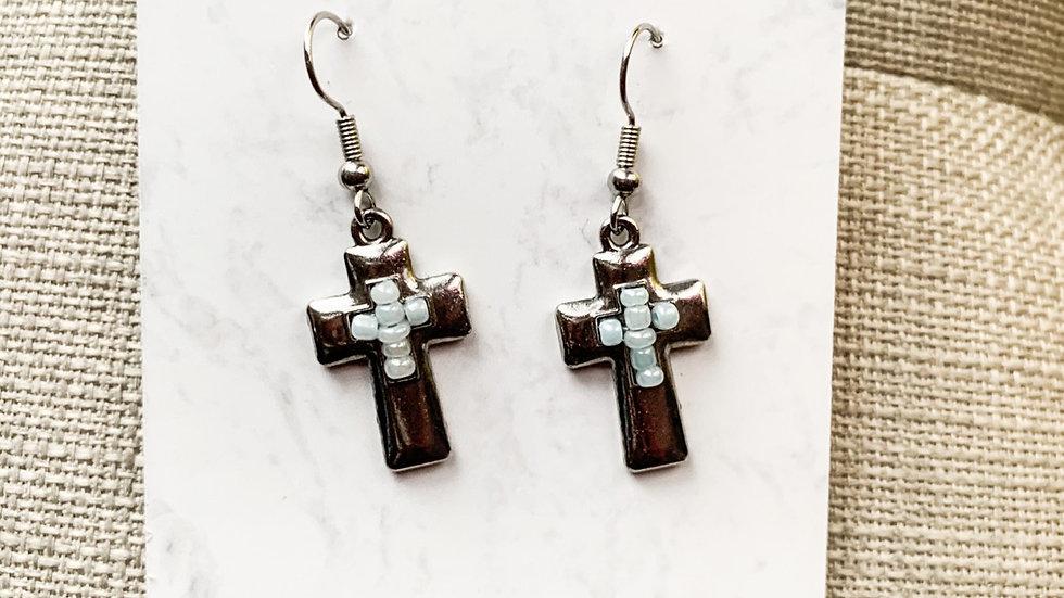 Beaded cross dangle earrings