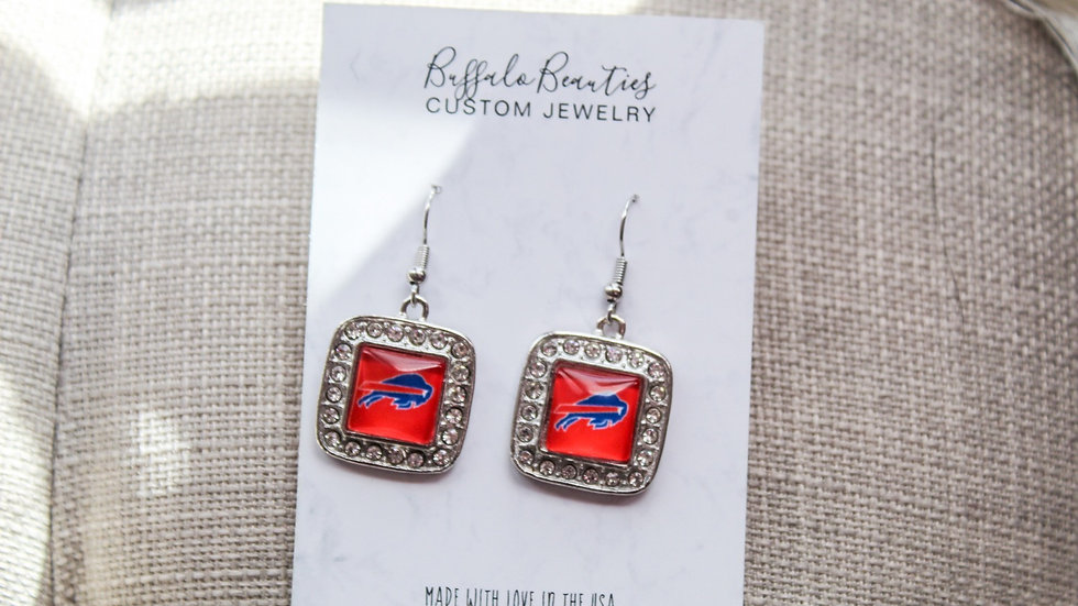 Square Buffalo Bills Earrings