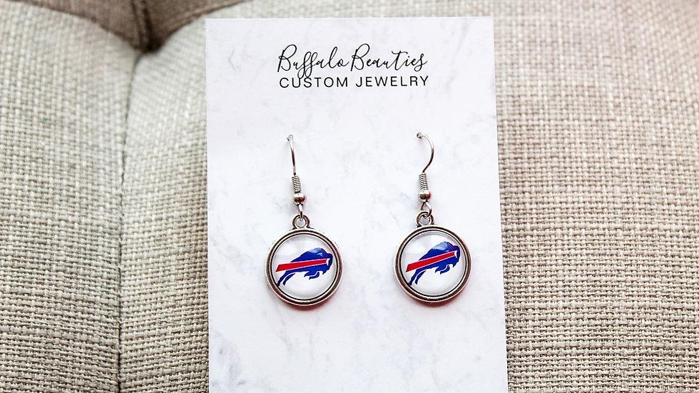 White bills logo earrings