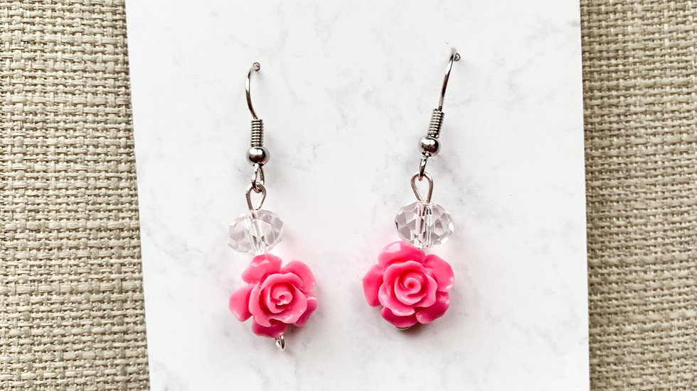 Pink rose charm dangle earrings