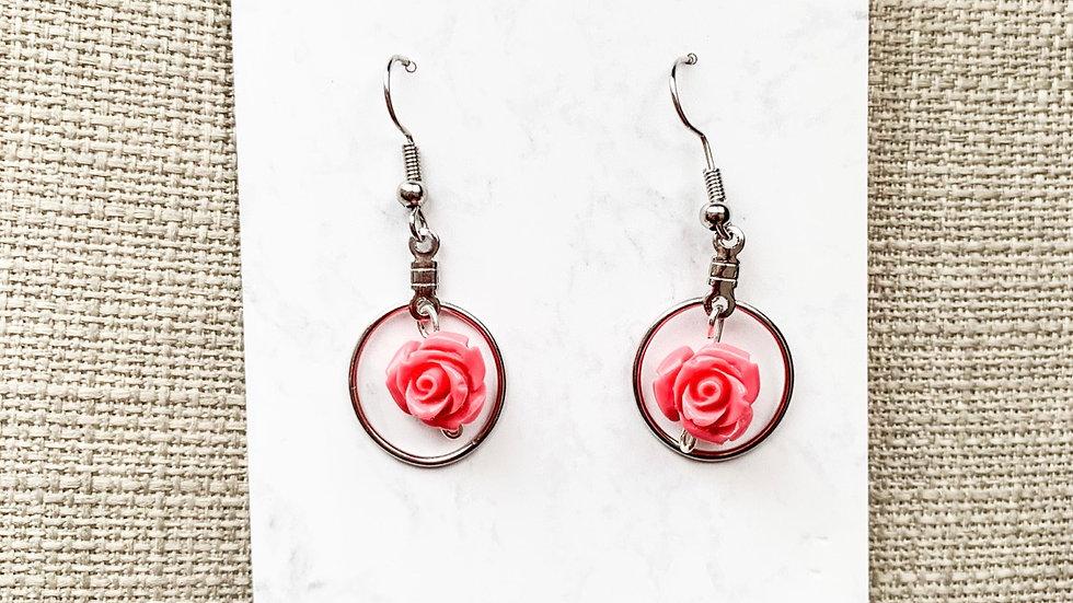 Dangle rose hoops