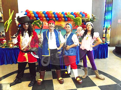 Animação de Festa com os personagens de Jake e os Piratas da Terra do Nunca