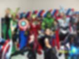 Animação de festa com os Vingadores - Homem de Ferro, Hulk, Capitão América, Thor, Viuva Negra, Loki e Arqueiro