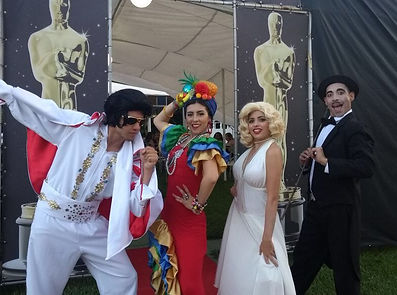 Animação de festa com Elis, Merylin, Chaplin e Carmm Miranda