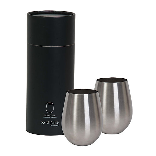 Po 'di Fame - Stemless Stainless Steel Wine Glass Set