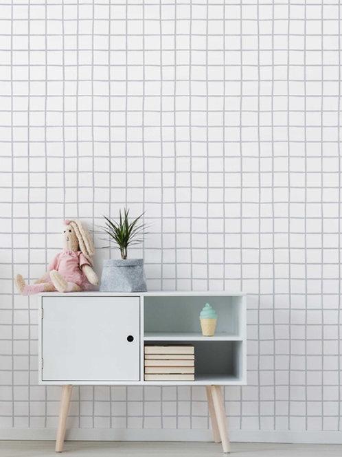 papel de parede quadriculado cinza