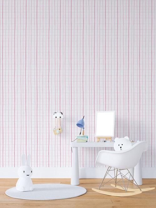 papel de parede quadriculado rosa
