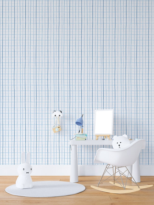 papel de parede mini grade azul
