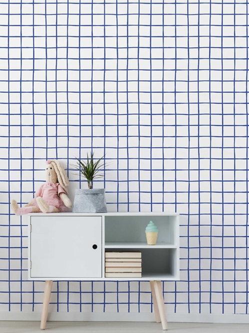 papel de parede grade azul