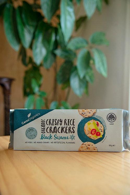 Crackers, crispy rice - black sesame 100g