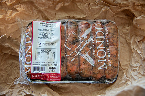 Meat - beef and mushroom sausages ~600g