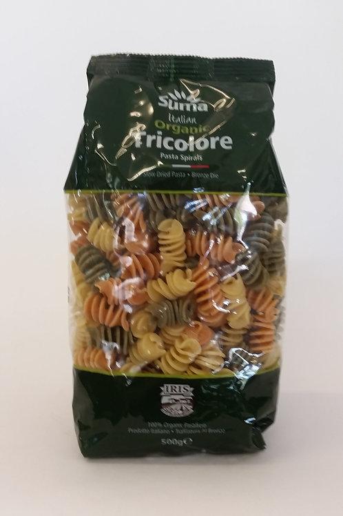 Pasta, tricolour spirals