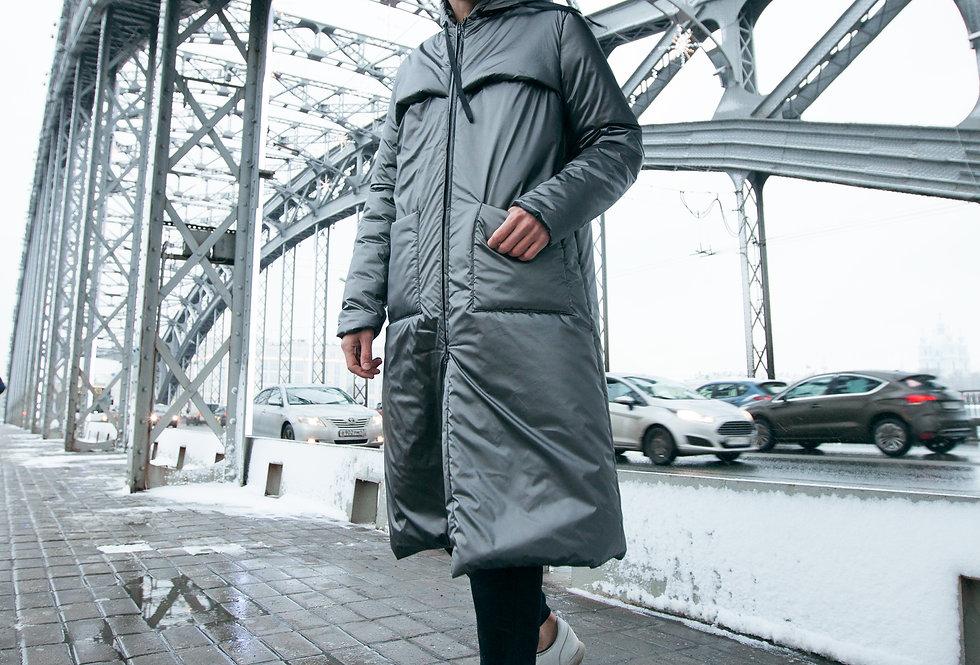 Утепленное пальто UNISEХ Cталь