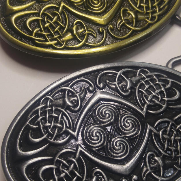 Celtic Belt Buckle - Oval Triskelion2