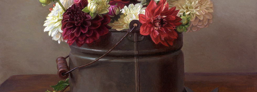 Dahlias in Bucket