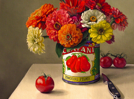 Zinnias in Tomato Can