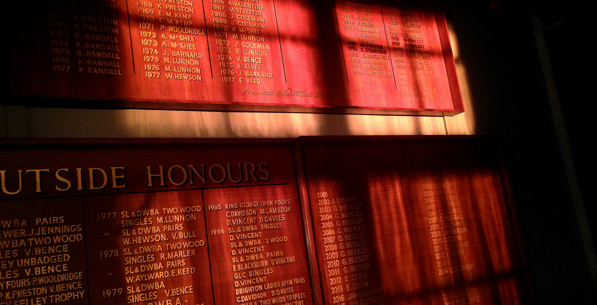 Women's historic honours boards