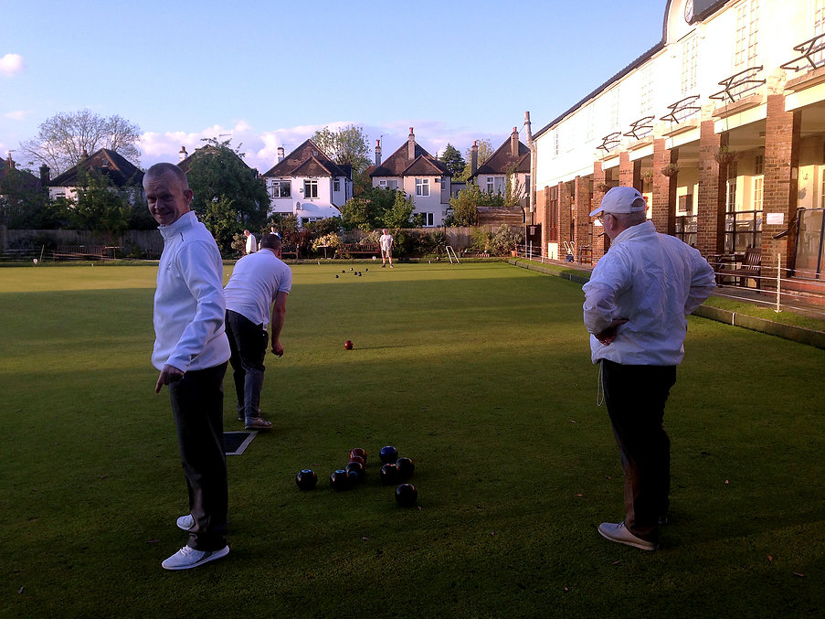 Friendly bowling game in the sun