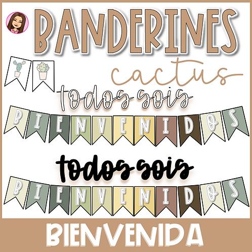 Banderines Bienvenida (ESTILO CACTUS)