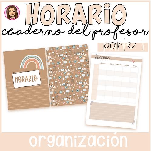 Horario (Cuaderno del profesor PARTE 1) Editable