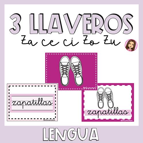 3 Llaveros con palabras con ZA CE CI ZO ZU