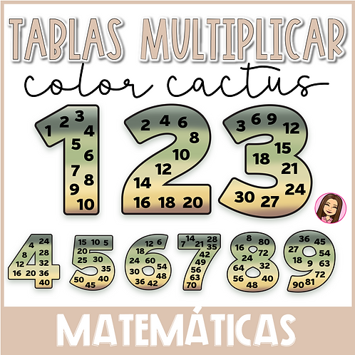 Tablas de multiplicar PÓSTER+EDICIÓN BOLSILLO (color cactus)