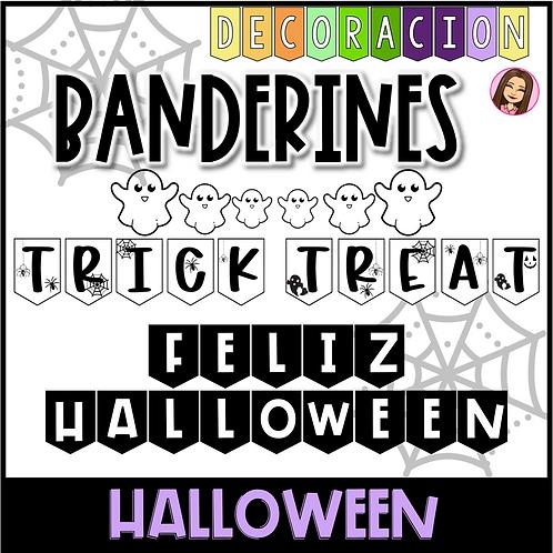 Banderines Halloween blanco y negro