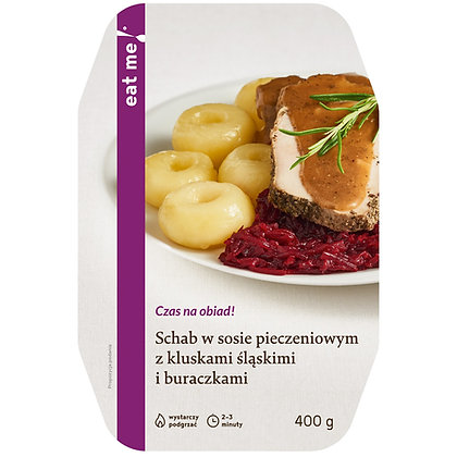 Schab w sosie pieczeniowym z kluskami śląskimi i buraczkami