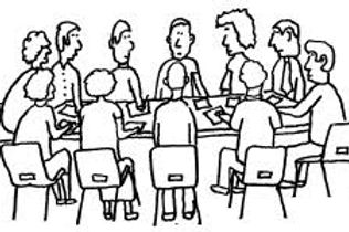 cartoon picture of committee round a tab