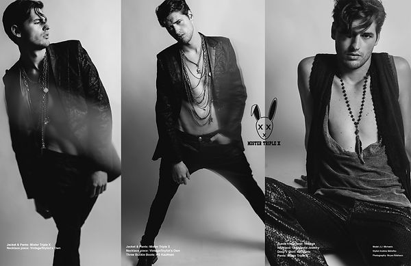 Los Angeles Model JJ Michaels in Amare Magazine wearing Mister Triple X by Bryan Rashaun