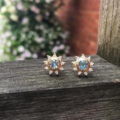 Aquamarine flower studs