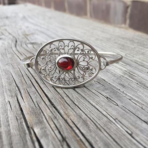 Garnet filigree bracelet