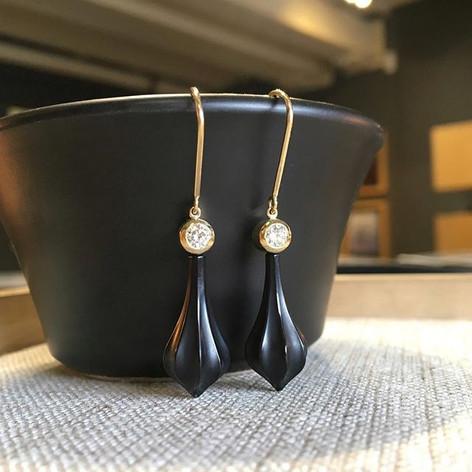 Deco onyx earrings