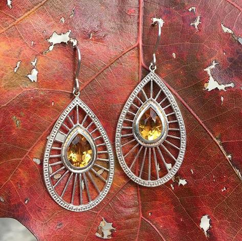 Citrine sunburst earrings