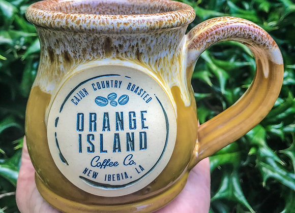Orange Island Coffee 10oz handmade stoneware mug