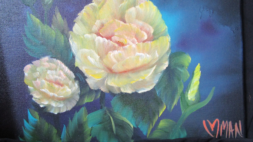 yellow rose, oil painting