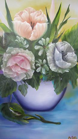 White vase mixed bouquet