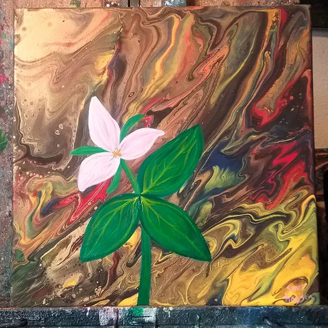 Grateful for signs of spring and longer days #inspirations #trillium #acrylicpainting #pourart #rain