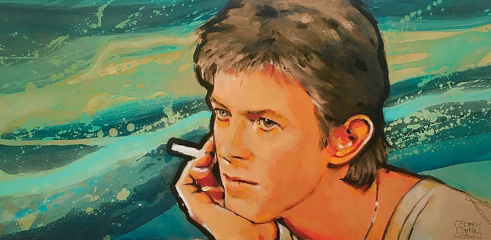 potrait of rockstar David Bowie in Amsterdam, 1977, smokinga  cigarette against a sea background, Heores period.